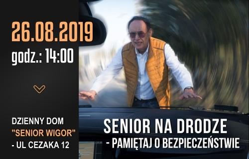 """Baner promujący spotkanie pt.: """"Senior na drodze - pamiętaj o bezpieczeństwie"""""""