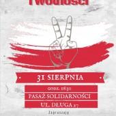 Plakat informujący o obchodach Dnia Solidarności i Wolności w Zgierzu