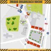 Mapka zmiany organizacji ruchu w dniach 31.12.2018 r.-01.01.2019 r.