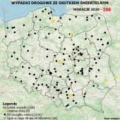 Mapa wypadków drogowych ze skutkiem śmiertelnym z dnia 21.07.2020 r.