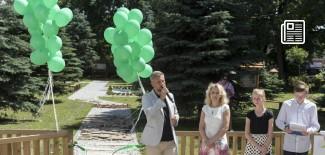 Uroczyste otwarcie ogrodu - przemawia Przemysław Staniszewski (Prezydent Miasta Zgierza)