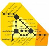 Mapka połączeń objętych biletem strefowym ŁKA