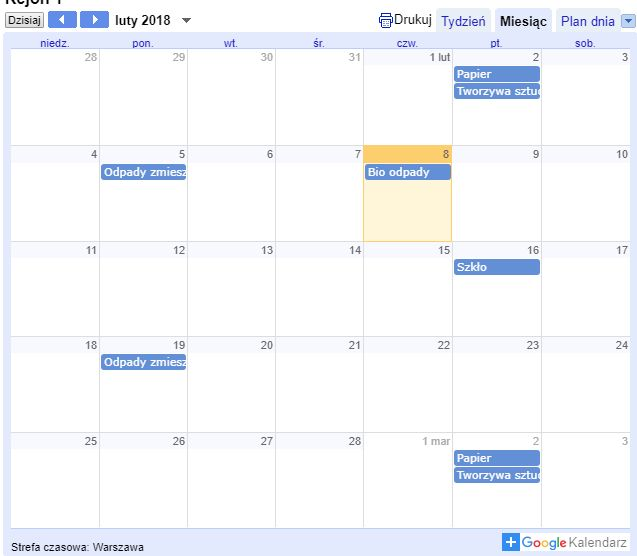 Widok kalendarza z zaznaczonymi datami odbioru odpadów