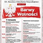 Plakat z programem obchodów Święta Niepodległości