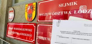 tablice na budynku urzędu marszałkowskiego województwa łódzkiego